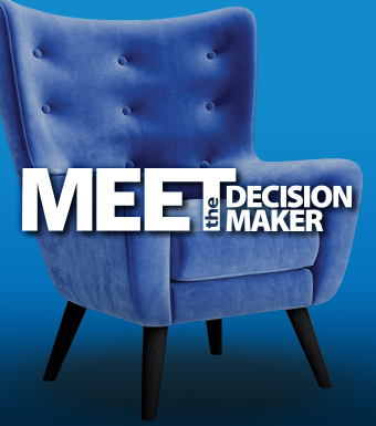 Blue Chair with overlaid text that reads: Meet the Decision Maker
